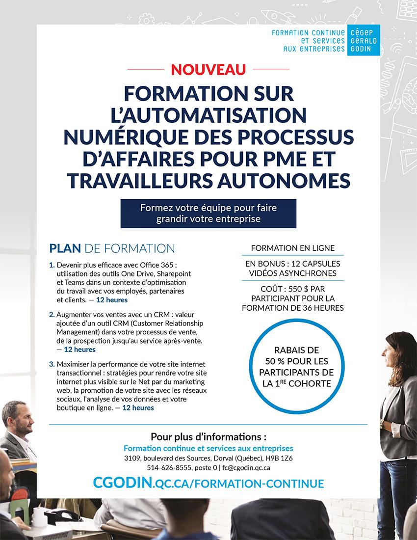 Présentation formation sur l'automatisation numérique des processus d'affaires pour PME et travailleurs autonomes