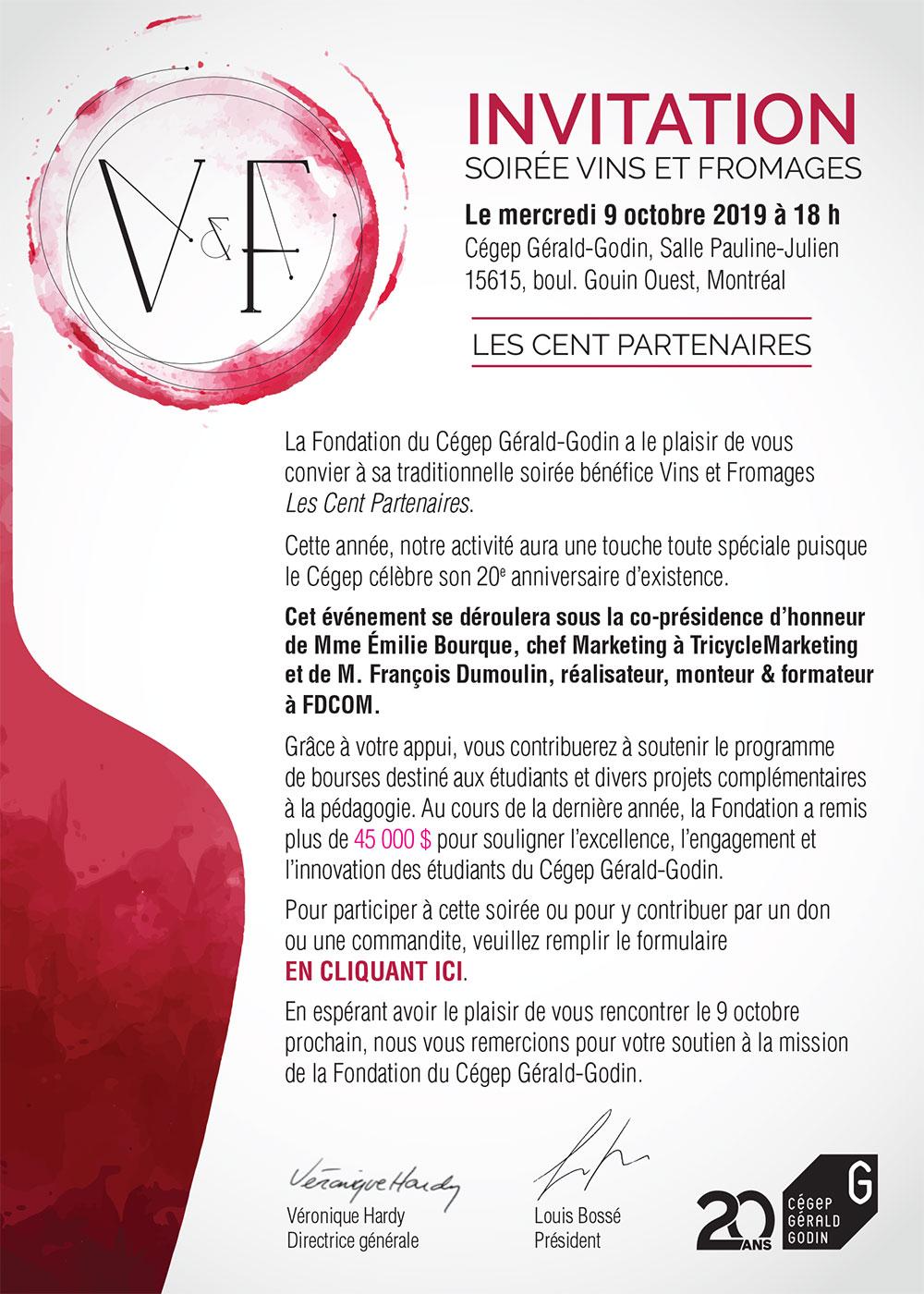 Invitation soirée vin et fromage 2019
